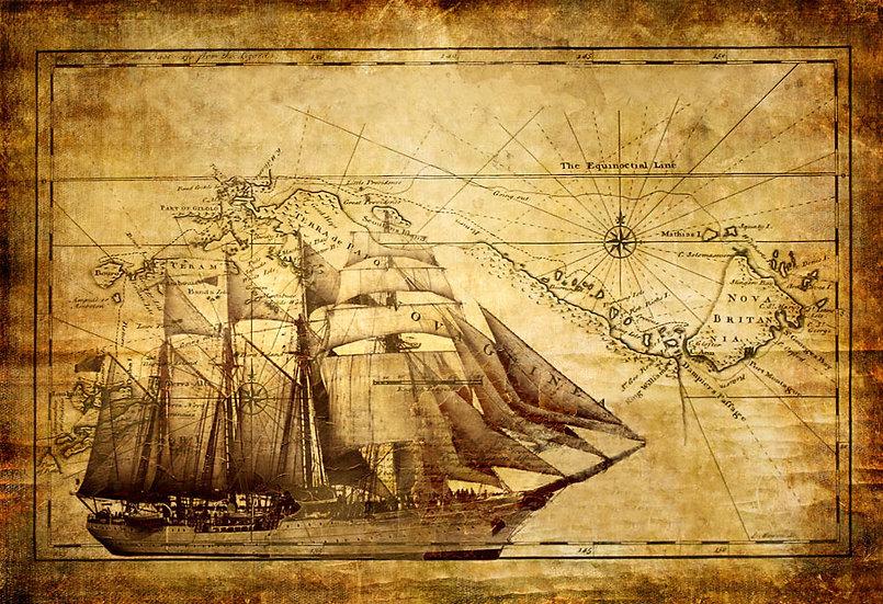 Eski Gemi Haritası | 3D Eski Gemi Haritası Duvar Posteri | Siirt