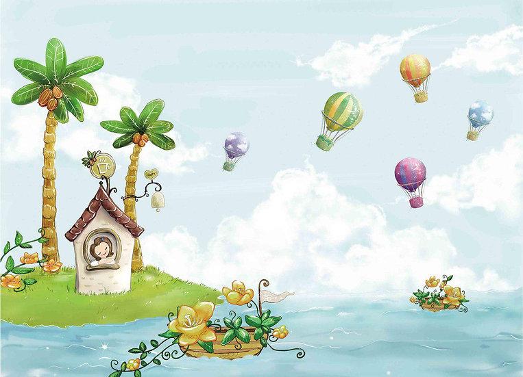 Deniz Palmiye Balonlar Çocuk Odası Duvar Kağıdı