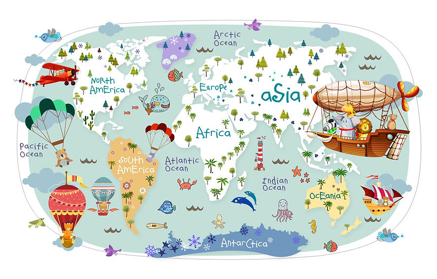 Çocuk Odasına Dünya Harita Duvar Kağıdı | Harita Duvar Kağıtları | Elazığ