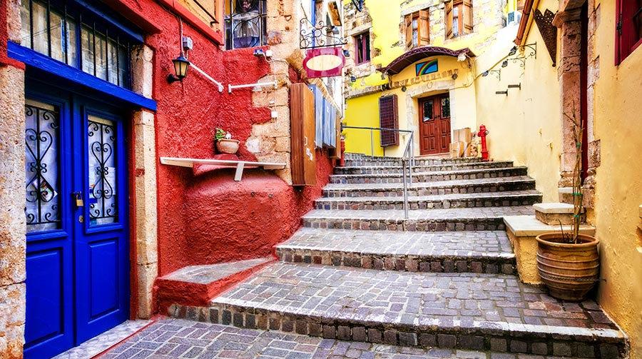 3 Boyutlu Sokak Duvar Kağıtları | Dokulu Yunanistan Hanya Kenti Duvar Kağıtları