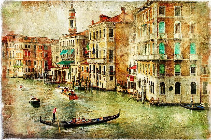 3 Boyutlu Venedik Duvar Kağıtları | HD Eskitme Gondol Gezisi Duvar Kağıtları