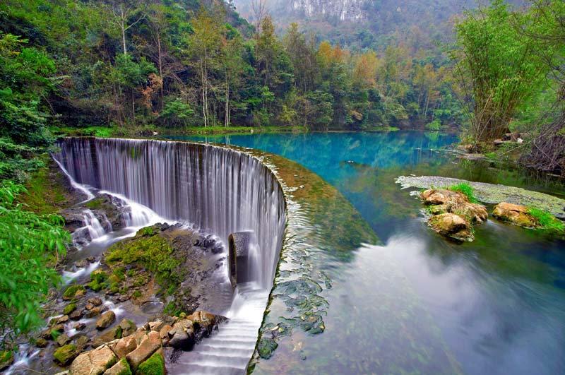 Muhteşem Nehir Manzara Duvar Kağıdı | 3 Boyutlu Katlı Şelale Duvar Kağıdı