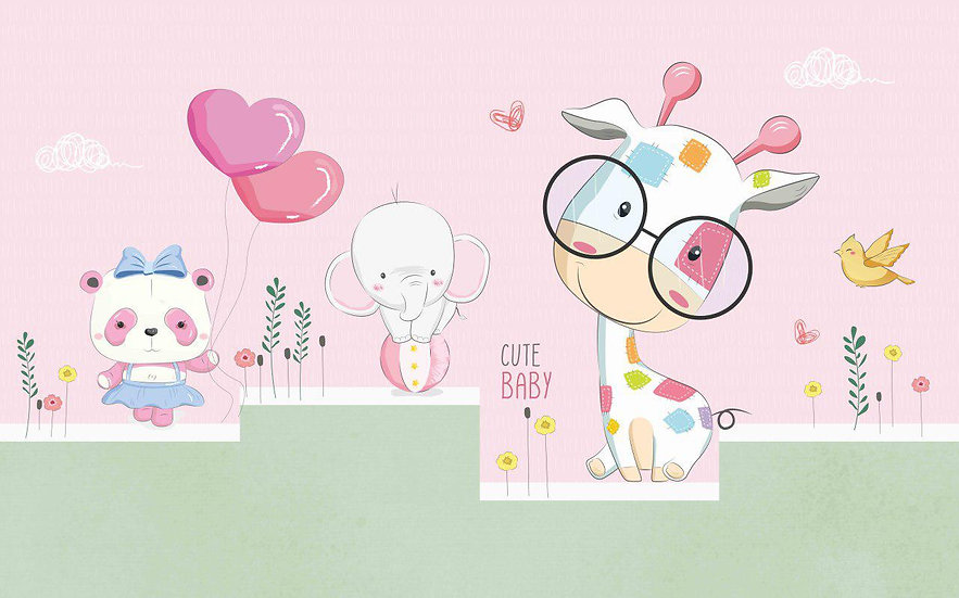 Sevimli Hayvanlar Pembe Çocuk Odası Duvar Kağıdı