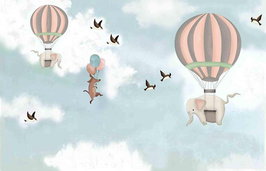 Balonla Uçan Fil Bebek Odası Duvar Kağıtları | Çanakkale