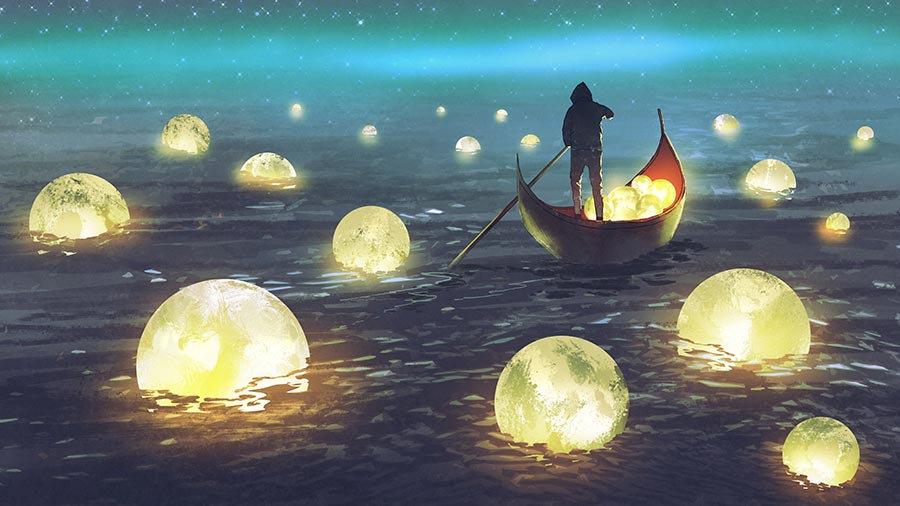 3D Deniz Üstünde Ay Duvar Kağıdı   HD Ay Parlaması Duvar Kağıtları