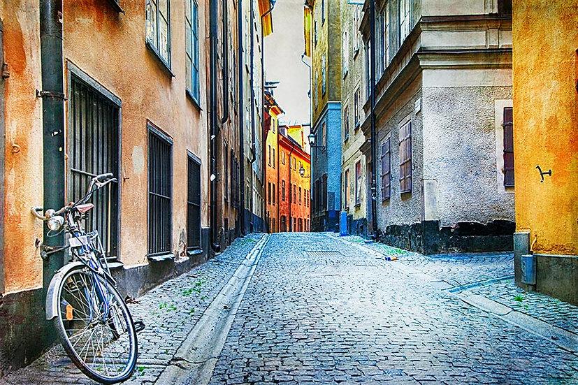 3 Boyutlu Duvar Kağıtları | Full HD İsveç'in Otantik Sokakları Duvar Kağıtları