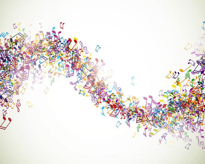 3 Boyutlu Müzik Duvar Kağıtları | Dokulu Nota Dalgalanması Duvar Kağıtları