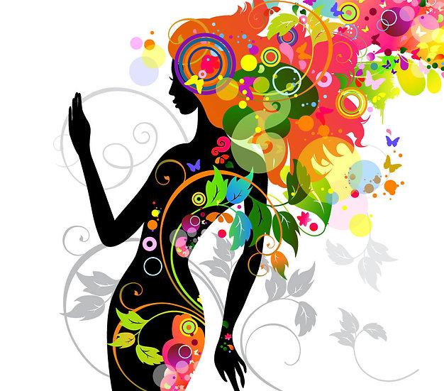 Bayan Güzellik Salonu Duvar Kağıdı | Renkli Çiçekler Bayan Duvar Kağıdı Çizim