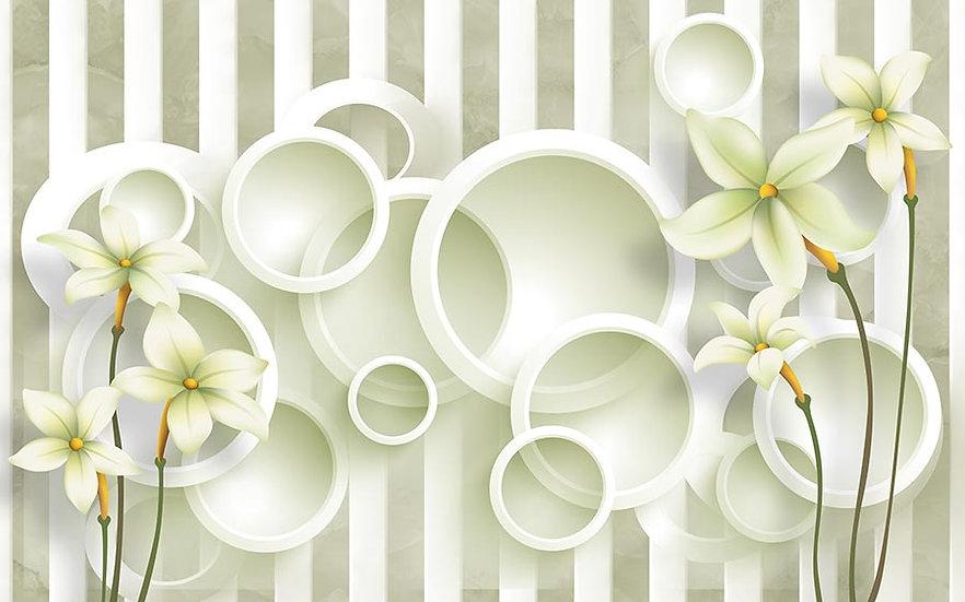 3D Yeşil Beyaz Duvar Kağıtları | 3 Boyutlu Daire Arka Plan Duvar Kağıtları