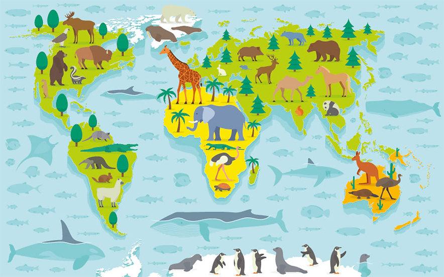 Hayvanlar Dünya Haritası Duvar Kağıtları