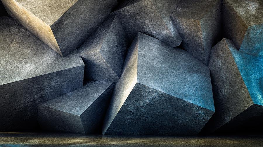 3 Boyutlu Kabartmalı Gümüş Küpler Duvar Kağıtları | 3D Küp Duvar Kağıtları