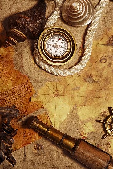 Eski Pusula Haritası | 3D Eski Pusula Haritası Duvar Posteri | Sakarya