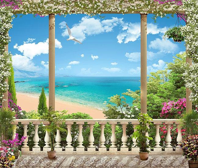 Balkon Deniz Manzaralı Duvar Kağıtları
