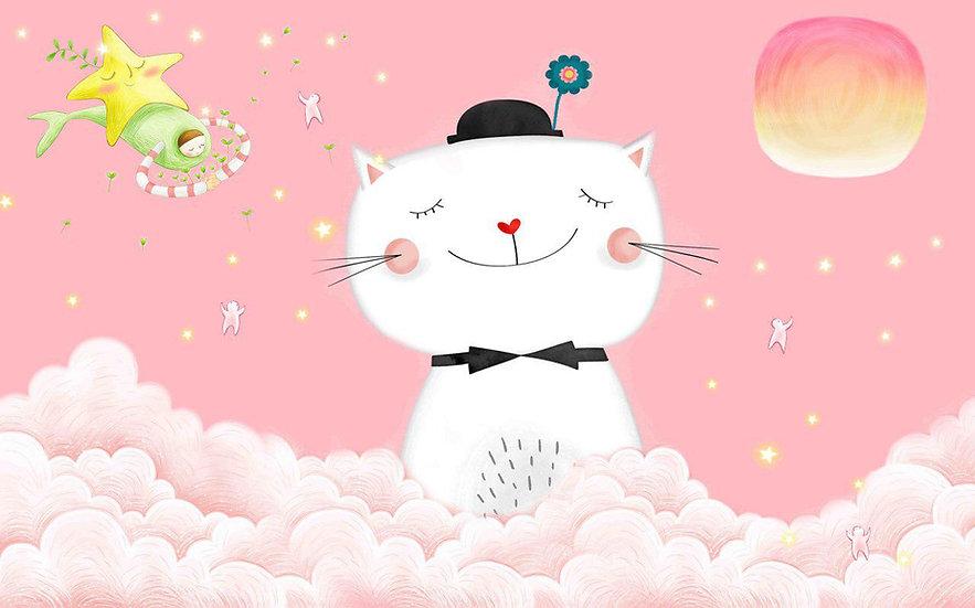 Kedili Pembe Çocuk Odası Duvar Kağıdı | Kedi Resimli Duvar Kağıdı