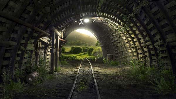 3D Tasarım Tren Tüneli Duvar Kağıdı