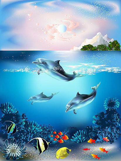 3 Boyutlu Denizaltı Duvar Kağıtları | Full HD Yunus Balıkları Duvar Kağıtları