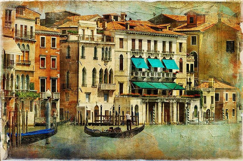 3 Boyutlu Venedik Duvar Kağıtları | HD Eskitme Venedik Gondolu Duvar Kağıtları
