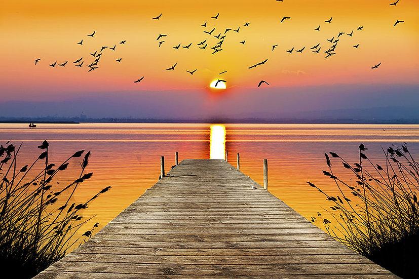 3 Boyutlu Günbatımı Manzaralı Duvar Kağıdı Posterleri