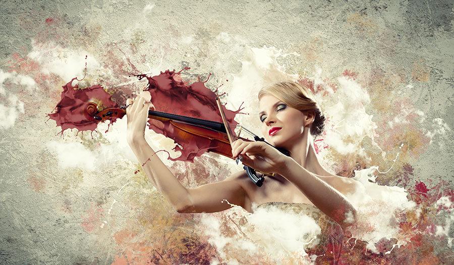 3D Müzik Duvar Kağıtları | Kabartmalı Keman Çalan Kadın Duvar Kağıtları