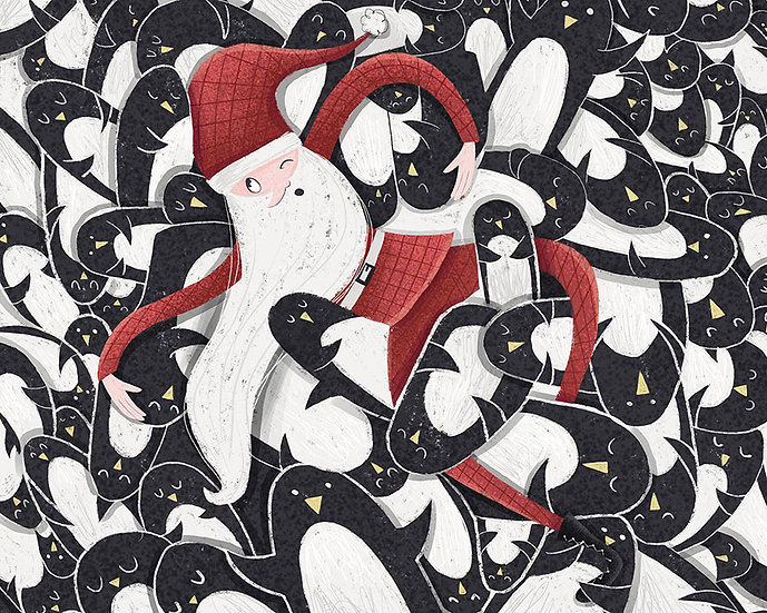 3 Boyutlu Çocuk Odası Duvar Kağıtları | Dokulu Noel Dayı Duvar Kağıtları