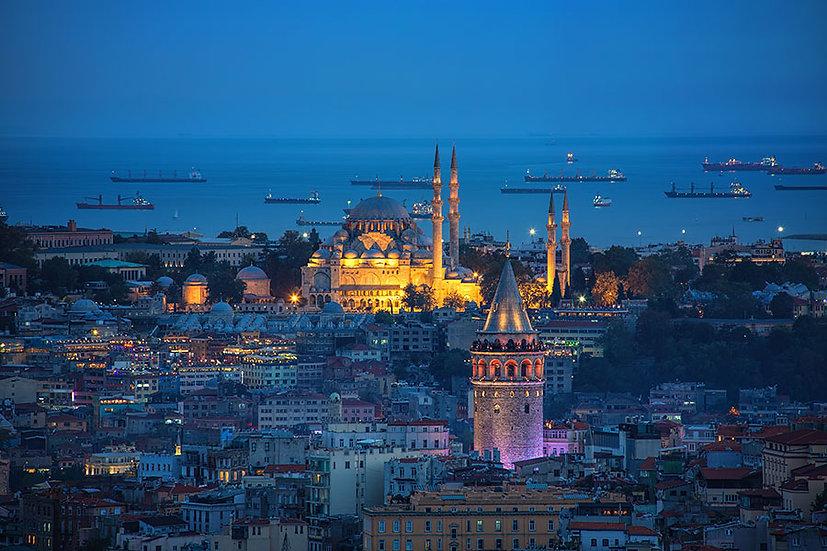 Gece Süleymaniye Camii Duvar Kağıdı Posteri   3d Galata Kulesi Duvar Kağıdı