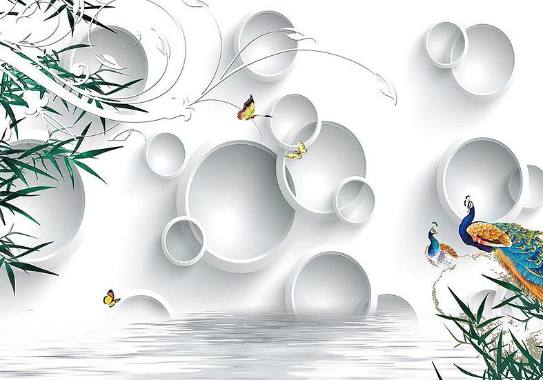 3 Boyutlu Tavuz Kuşu Çiçekler Duvar Kağıtları