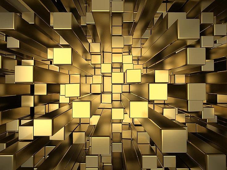 3D Altın Küpler Duvar Kağıdı