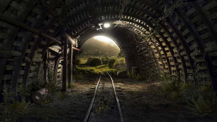3 Boyutlu Tünel Resimli Duvar Kağıdı