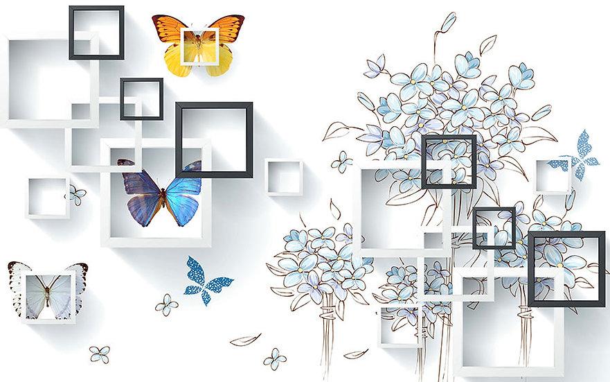 3D Kare Küpler Duvar Kağıdı | Full HD Renkli Kelebekler Duvar Kağıtları