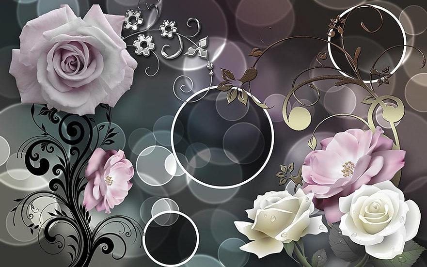 3 Boyutlu Butik Dükkanı Duvar Kağıdı | Dokulu Çiçekler Duvar Kağıtları
