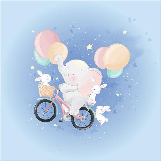 Uçan Balonda Fil ve Tavşanlar Duvar Kağıdı   Bebek Odası Posterleri   İzmir