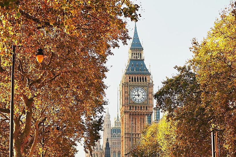 3 Boyutlu Duvar Kağıtları | Full HD Londra Sonbahar Saat Kulesi Duvar Kağıtları