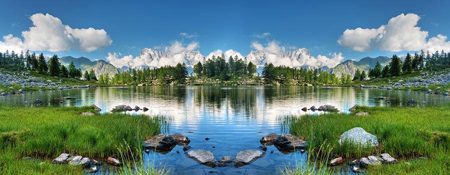 Dağlar Arası Göl HD Duvar Kağıtları | Kabartmalı Salon İçi Duvar Kağıtları
