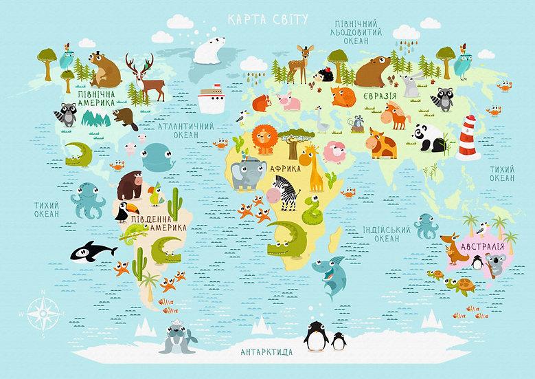 Çocuk Odası İçin Dünya Haritası Duvar Kağıdı | Dünya Haritası Duvar Kağıdı