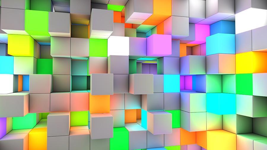 3D Renkli Kare Küpler Duvar Kağıdı | Full Hd Kare Küp Duvar Kağıtları