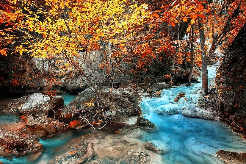 3 Boyutlu Sonbaharlı Nehir Duvar Kağıdı | HD Kalite Şelale Duvar Kağıtları