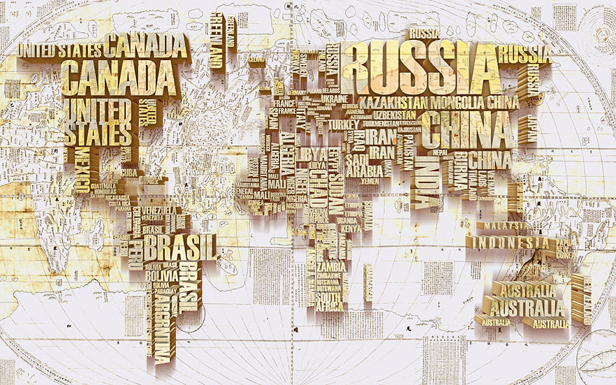 3D Dünya Haritası Sarı | 3 Boyutlu Haritası Altın | Kocaeli