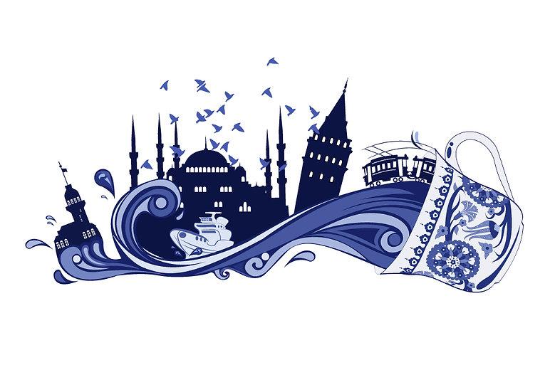 3 Boyutlu Barcelona Kağıtları | Dalgalı İstanbul Siluet Duvar Kağıtları