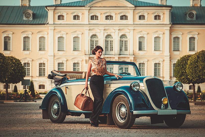 Klasik Araba Manzaralı Duvar Kağıtları | Eski Nostalji Duvar Kağıtları