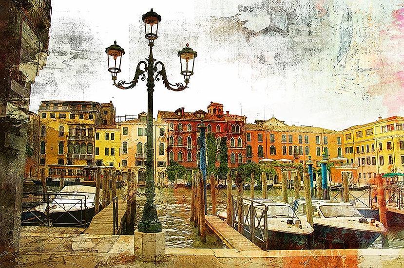 3 Boyutlu İtalya Duvar Kağıtları | Muhteşem Retro Venedik Duvar Kağıtları