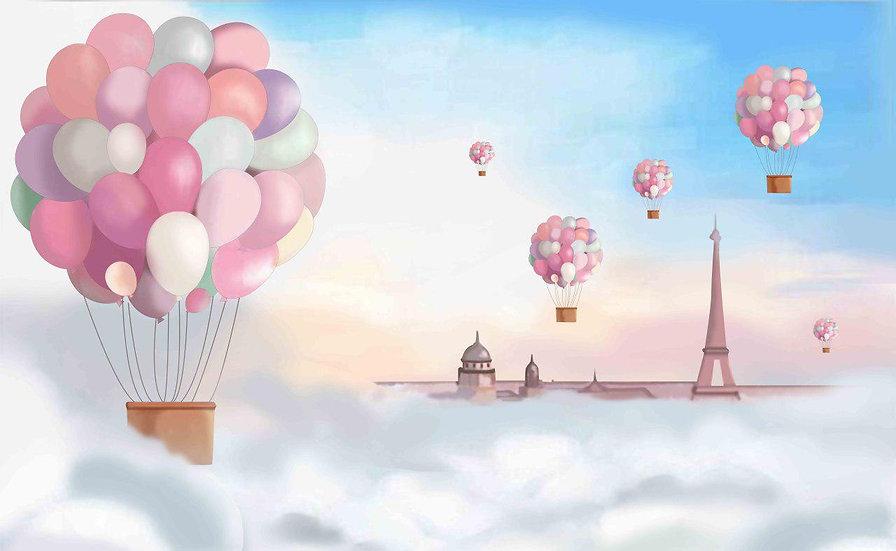 Bulutların Üstünde Uçan Balonlar Bebek Odası Duvar Kağıdı