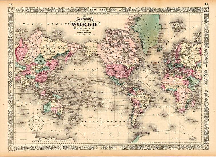Renkli Dünya Haritası | 3D Renkli Dünya Haritası Duvar Posteri | Ağrı