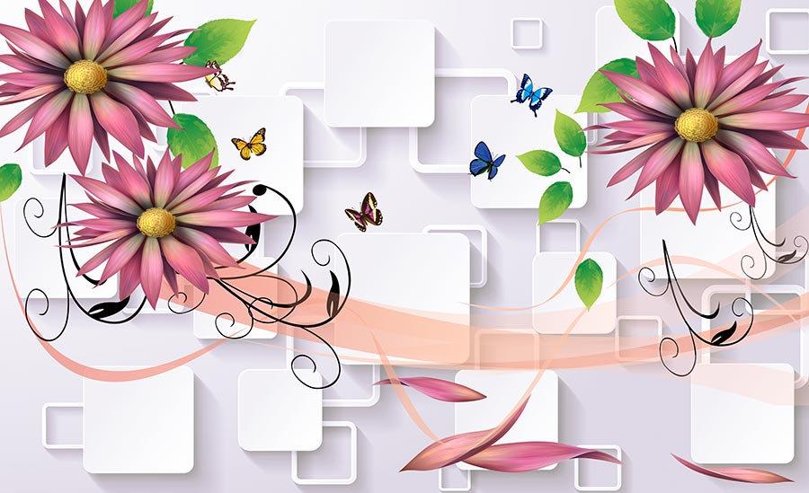 Pembe çiçekli duvar kağıtları