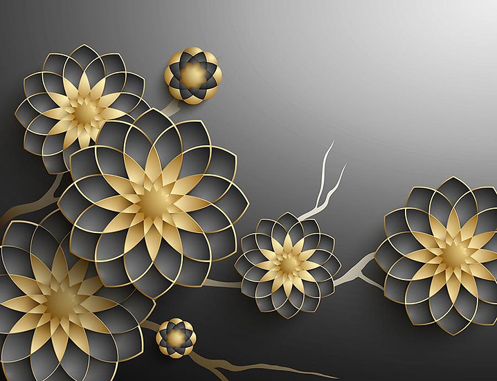 3D Altın Figürler Duvar Kağıdı | Muhteşem Mücevher Desenli Duvar Kağıtları