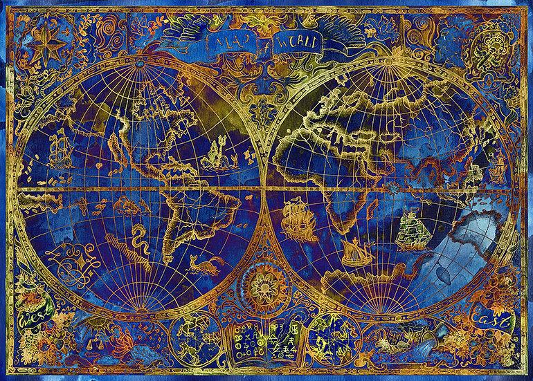 Parşömen Dünya Haritası Duvar Kağıtları Örnekleri