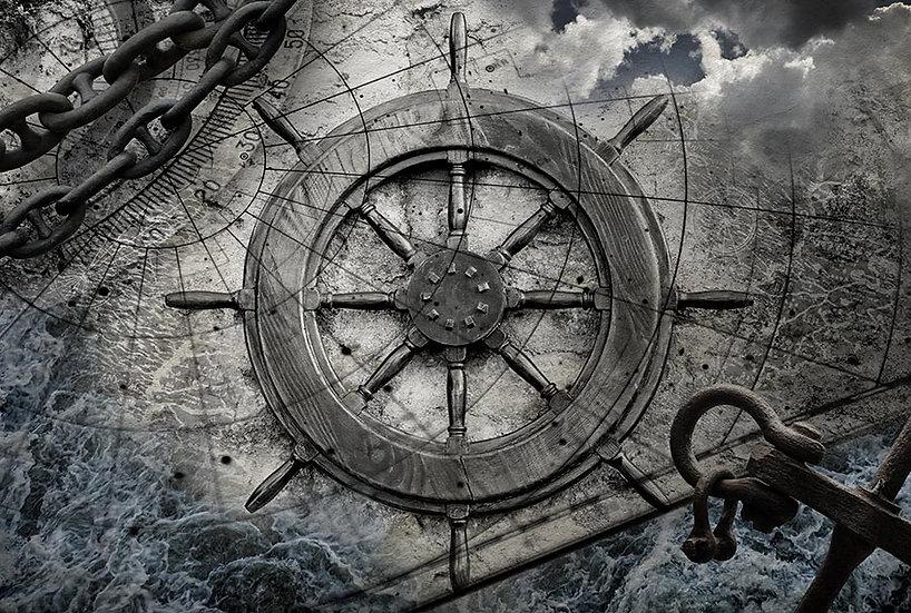 Eskitme Harita Gemi Dümeni 3 Boyutlu Duvar Kağıdı