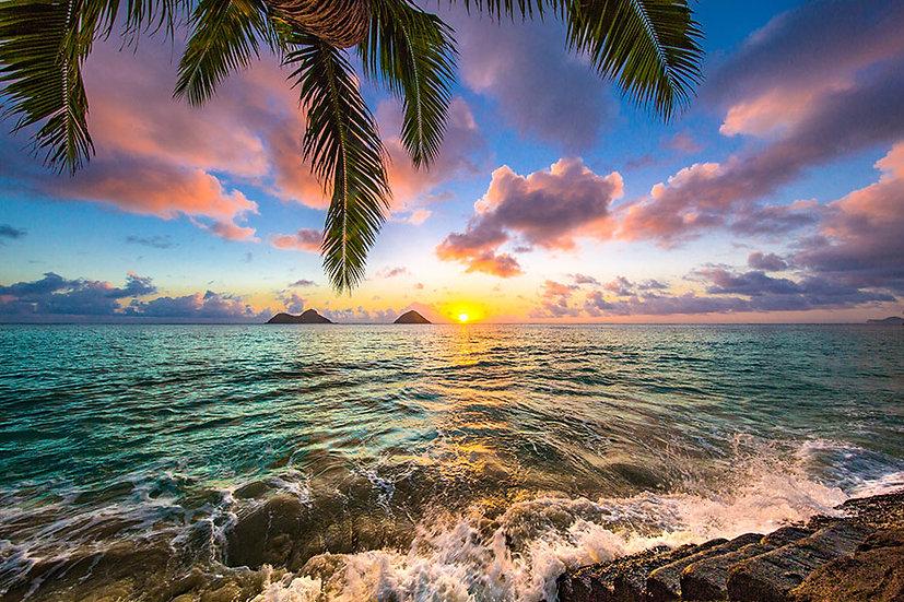 3D Deniz Duvar Kağıdı | İnanılmaz Tropikal Ada Gün Batımı Duvar Kağıdı