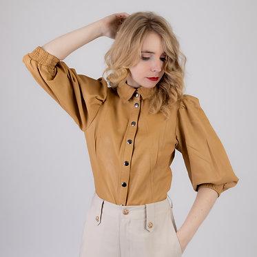 Lederen blouse - Jade