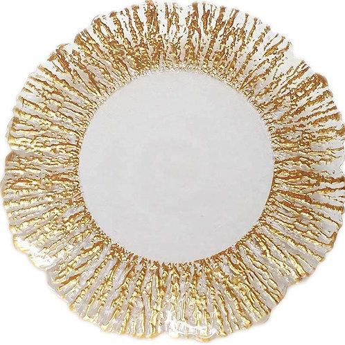 AYZ 24019 13'' Glitter Flower Charger Plate