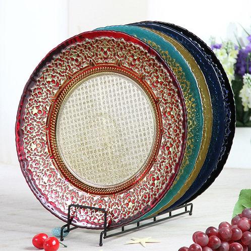 AYZ 24002 13'' Glass Charger Plates Red/Cyan/Gold/Dark Blue/Black